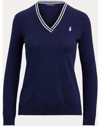 Ralph Lauren Golf Cotton V-neck Golf Jumper - Blue