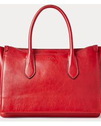 Polo Ralph Lauren Leather Large Sloane Satchel - Red
