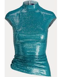 Ralph Lauren Chemisier Robynn en tulle stretch décoré - Vert