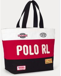 Polo Ralph Lauren Racing Colour-blocked Canvas Tote - Red