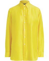 Crepe Silk Shirt Silk Yellow Silk Shirt Yellow Crepe ZXwOPkiuTl