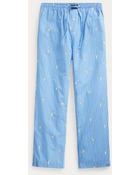 Polo Ralph Lauren Pantalón De Pijama Con Polo Bear Y Rayas - Azul