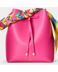 Ralph Lauren Print-scarf Debby Drawstring Bag - Pink
