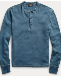 RRL Waffle-knitted Cotton Henley - Blue