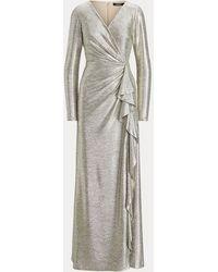 Ralph Lauren Vestido Metalizado Con Volantes - Metálico