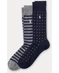 Polo Ralph Lauren Dot Stripe Sock 2-pack - Blue