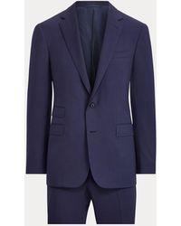 Ralph Lauren Purple Label Costume Gregory en gabardine de laine - Bleu