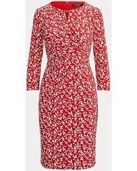 Ralph Lauren Bedrucktes Jersey-Wickelkleid - Rot