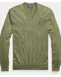 Polo Ralph Lauren Pull cintré à col en V en coton - Vert