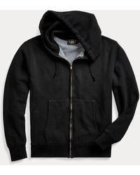 RRL Sweat à capuche en molleton teint en pièce - Noir