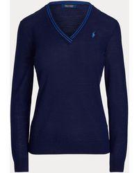 Ralph Lauren Golf Merino Wool V-neck Jumper - Blue
