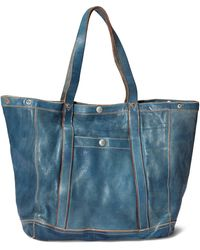 RRL - Indigo-dyed Leather Tote - Lyst