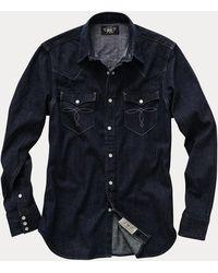 RRL Camicia western in denim Slim-Fit - Blu