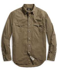 RRL Cotton Twill Western Shirt - Green