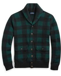 Polo Ralph Lauren - Checked Wool-blend Cardigan - Lyst