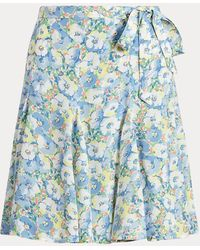 Polo Ralph Lauren Floral Crepe Wrap Skirt - Blue