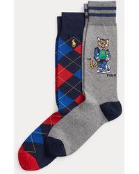 Polo Ralph Lauren Lot 2 paires de chaussettes tigre et Argyle - Bleu