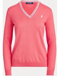 Ralph Lauren Golf Cotton V-neck Golf Jumper - Pink