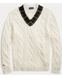 Polo Ralph Lauren Cricketpullover mit kariertem Besatz - Natur