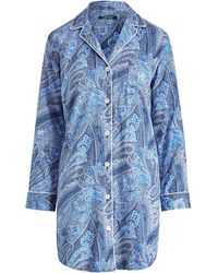 Lyst - Ralph Lauren Floral Cotton Sleep Shirt in Pink 872fce693