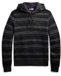 Ralph Lauren Fair Isle Cashmere Hooded Sweater - Gray