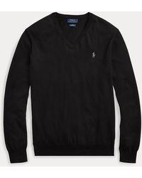 Polo Ralph Lauren Pull cintré à col en V en coton - Noir