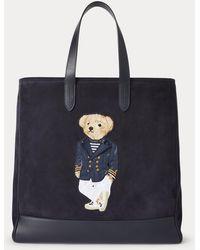 Ralph Lauren Purple Label Suede Polo Bear Tote - Blue