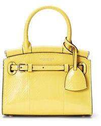 Ralph Lauren Ayers Snakeskin Mini Rl50 Handbag - Yellow