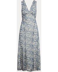 Polo Ralph Lauren Robe fleurie à col en V - Bleu