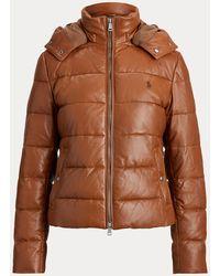 Ralph Lauren Belmont Leather Down Jacket - Brown