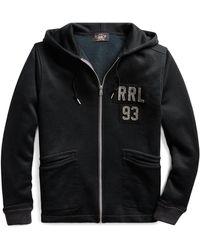 RRL Sweat zippé à capuche en molleton - Noir