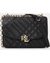 Ralph Lauren Plaid Quilted Madison Crossbody Bag - Black