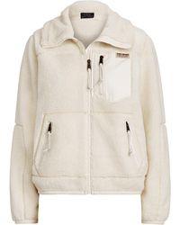 Polo Ralph Lauren Leather-trim Fleece Zip Jacket - Natural