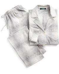 Ralph Lauren Plaid Cotton Twill Pyjama Set - Gray