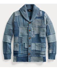 RRL Cardigan patchwork lin et coton indigo - Bleu