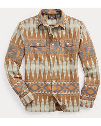 RRL Camisa De Trabajo De Jacquard - Marrón