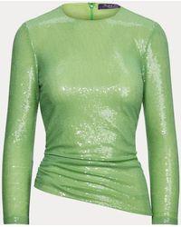 Ralph Lauren Chemisier Alysha en tulle stretch décoré - Vert