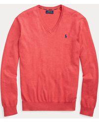 Polo Ralph Lauren Pull cintré à col en V en coton - Rouge