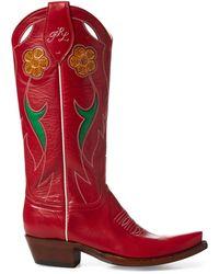 Ralph Lauren Selene Leather Cowboy Boot - Red