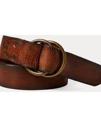 RRL Distressed Leather Belt - Brown