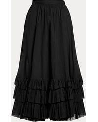 Polo Ralph Lauren Ruffle-trim Cotton Voile Skirt - Black