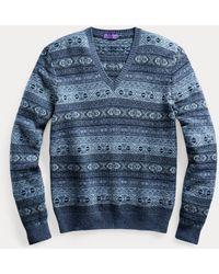 Ralph Lauren Purple Label Fair-Isle-Pullover mit V-Ausschnitt - Blau