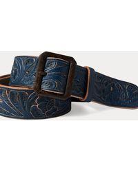 RRL Hand-tooled Leather Belt - Blue