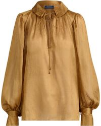Polo Ralph Lauren - Metallic Crinkle Blouse - Lyst