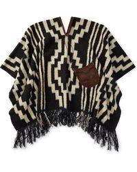 RRL - Leather-trim Wool Poncho - Lyst