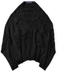 Ralph Lauren Cable Cashmere Poncho Scarf - Black