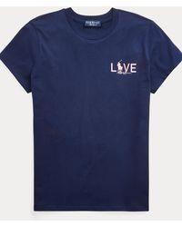 Ralph Lauren Camiseta De Algodón Pink Pony - Azul