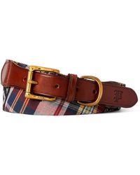 Ralph Lauren Leather-trim Madras Belt - Multicolor