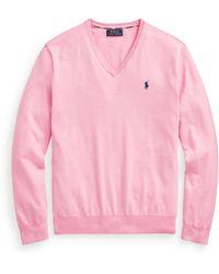 Ralph Lauren Cotton V-neck Sweater - Pink