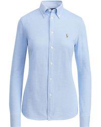 a9a6d7c1523 Lyst - Polo Ralph Lauren Striped Knit Oxford Shirt in Blue